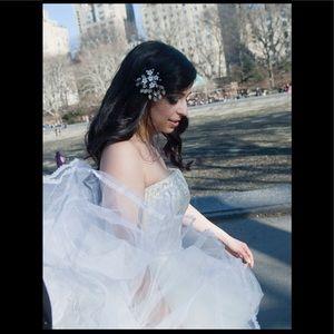 Lazaro tulle Swarovski A line wedding gown